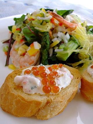 サーモンのディップと野菜サラダ