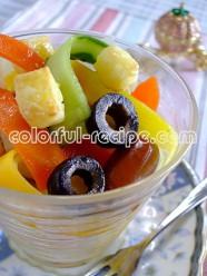 リボン野菜とチーズのマリネ