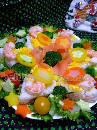 雪の結晶のクリスマス寿司